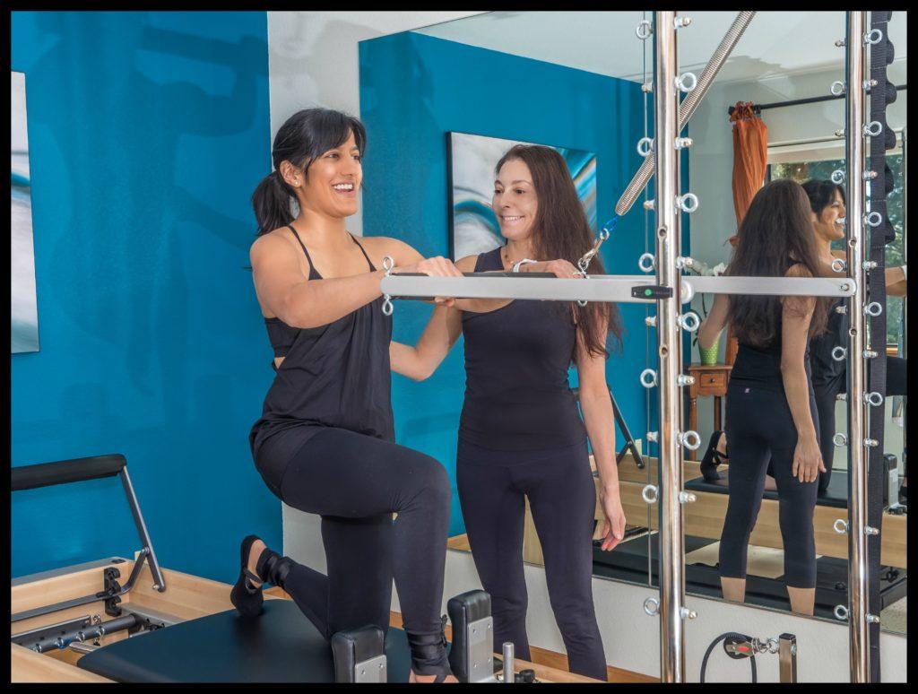 Client Raj, working hard on Reformer/Tower lunges at Safe Spine Fitness, Incline Village, NV